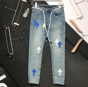 20SS Chrome CH Coeur tendance jeans hommes pantalon avec slim bleu broderie en cuir pantalons pour hommes