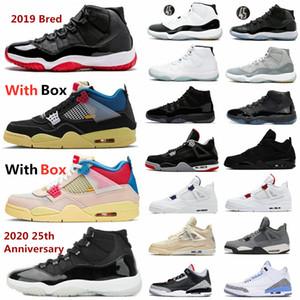2020 25. Yıl Bred 11 Basketbol ayakkabıları siyah kedi 4 11'leri erkek spor ayakkabısı gri gama efsane mavi siyah çimento UNC 3 concord uzay reçel soğutmak