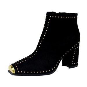 Retro Booties Women Rivet High Heels Square Head Punk Shoes Faux Suede Black Ankle Boots Female Short Plush Winter Footwear