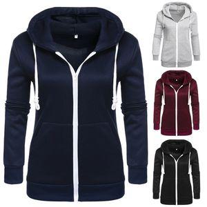 Zogaa Klasik Kapüşonlular Palto Yeni Bahar Sonbahar Fermuar Kapşonlu Sweatshirt Hoody Ceket Coat Kabanlar Cepler Womens