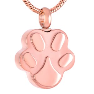 IJD9292 Pet Cat Dog Rose Gold Print Cremation Memorial Pendant for Ash Urn Wearable Keepsake Necklace for Women Men Jewelry