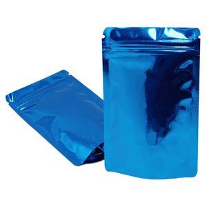 100шт Синий Встаньте Глянцевая алюминиевая фольга упаковки многоразового использования Мешок Heat Seal Сумка для хранения