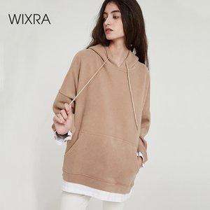Wixra Frauen-beiläufige Sweatshirts Warm Velvet Langarm-Aufmaß Hoodies Tops Herbst-Winter-Pullover 200.923 Tops
