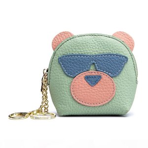 Fashion designer lovely cute sunglasses pig animal cartoon genuine leather mini coin purse key bag zipper clutch wallet for women