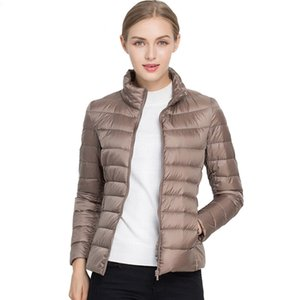 Johnature 2020 New Women Coat Autumn Winter 90% White Duck Down Jacket 16 Colors Warm Slim Zipper Fashion Light Down Coat S-3XL