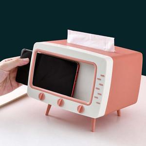 Creative TV Tissue Box Desktop Paper Titular Dispensador De Armazenamento de Armazenamento Caso Organizador com Titular do Telefone Móvel para Home Hotel