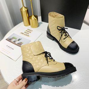 Outono Inverno Rhombic Cadeia Designer Couro Womens botas de luxo Heel emenda Média Alta Qualidade Curto 3CM Heel Botas 35-41