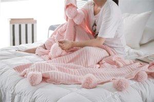 envío libre hecho a mano de tiro bola de algodón de punto Manta tiro de la cama chal suave cama el dormir manta de playa cobertura con enfant