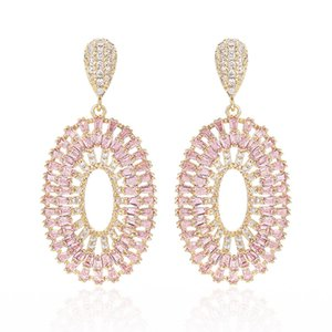 XIUMEIYIZU Luxury Jewelry Hollow Oval Dangle Earrings Pave Zircon Trendy Stone Drop Earrings Wholesale Fashion Women