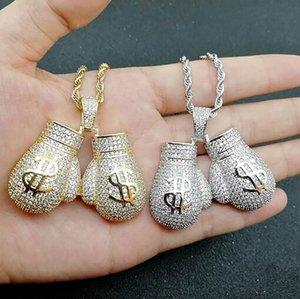 14K Iced Out знак доллара Боксерские перчатки ожерелье 3мм Веревка цепи Серебро Золото Цвет Циркон Мужчины Hiphop ювелирных изделий