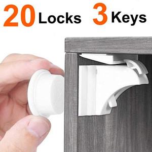 Child Lock magnetica 20 serrature e chiavi 3 bambino di sicurezza del bambino Protezioni del Governo serratura della porta bambini cassetto armadietto di sicurezza magnetico