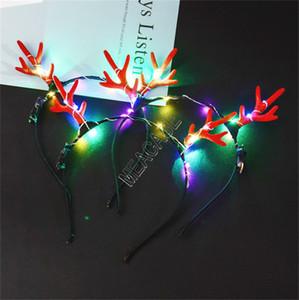 LED leuchten Stirnband Luminous Hair Bands Sticks Halloween Weihnachten Elk Horn Antlers Cosplay Prop Licht emittierende Weihnachtshaarspange d91703
