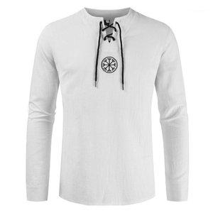 Tshirts Moda Dantel-up Tees Casual Uzun Kollu Mürettebat Boyun Tees Erkekler Giyim Erkek Designer Geometrik yazdır