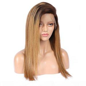 13 * 6 Dantel Ön İnsan Saç Peruk Ombre Rengi Dalgalı% 150 DensitySilky Düz Malezya Bakire Saç Öncesi Mızraplı ağartılmış Knots