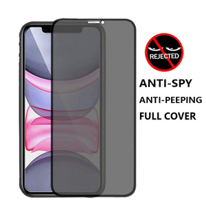 Lucha contra el asomando anti-espía de privacidad completa cobertura de vidrio templado pantalla del teléfono protector para el iPhone 12 11 PRO MAX XR XS MAX SE 2020
