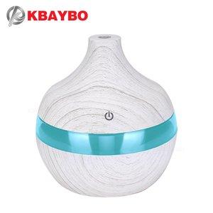 KBAYBO 300ml umidificatore USB legno bianco diffusore grano USB con 7 colori LED umidificatore ad ultrasuoni per la camera da letto di casa