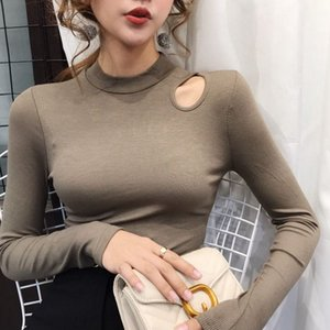 Careful Machine Expose Clavicle Pure Color Long-Sleeved T-shirt Womens New Style for Autumn and Winter Fashion Temperament Slim Fit Cotton B