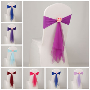 Spandex Sash с Роуз Болл искуственные Цветок и органзы Председатель Sash Свадебное Bow Tie полосы 15color партия Рождественский подарок