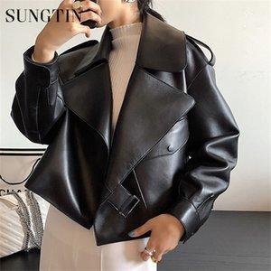 Sungtin Faux женщин кожаная куртка Soft Сыпучие Vintage Biker пальто Короткие Карманы Мотор PU Black Jacket Осень Street кожаном пальто