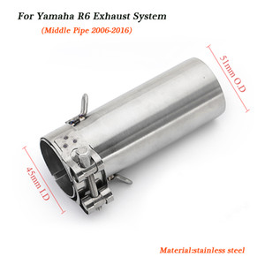 R6 Motorcycle Middle Link Pipe 51mm Silencer System For Yamaha YZF-R6 R6 2006 2007 2008 2009 2010 2011 2012 2013 2014 2015 2016
