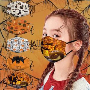Niños de Halloween la mascarilla de la calabaza de la historieta 3D cubierta protectora Ajustable Cara Boca máscara máscaras cubierta a prueba de polvo facial reutilizable lavable AHE1618