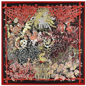 100% Twill Silk Women Scarf 130*130Cm Spain Print Square Scarves Horse Print Vintage Foulard Female Silk Hijab Lady Bandana Gift Silk Shawl