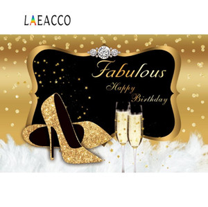 Photo Ambiance Happy Fabulous femmes Birthday Party d'or Hauts talons points plume Poster photographique Backdrop Studio