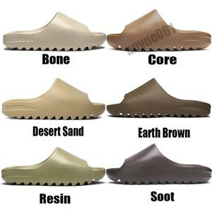 Luxe pantoufle Moda Kanye West Slaytlar Köpük Runner Desert Çekirdek Kum Toprak Kahverengi Reçine Womens Terlik erkek dişi Sandal Terlik