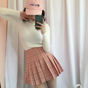 Harajuku Skater Gonne 2020 Estate New coreano Harajuku Vintage plaid gonna a pieghe Womens Kawaii vita alta Abbigliamento Donna Gonna