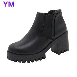 2020 Autumn Winter New Women's Short Boots Thick-soled High Heels European American Waterproof Platform Round Head Boots
