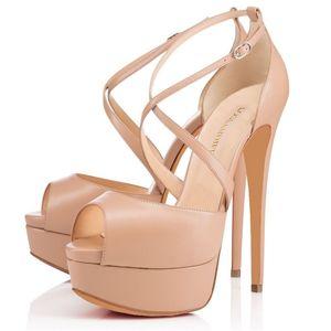 LOSLANDIFEN Women Pumps Nightclub Sandal Ultra Fashion Bride Shoes 14cm Super High Heels Sandals Pump Leather Platform 817-23MA Y200620