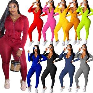 Женщины Tracksuit Две пьеса Комплект с длинным рукавом Нижнего Zipper Кардиган Плюс Размер Спортивных бегуны Street Одежда S-2XL 2020