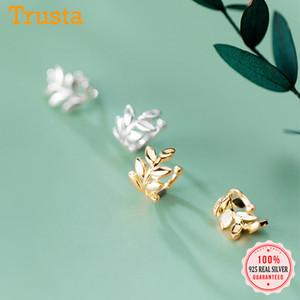 Trustdavis reale argento 925 dolci Foglie dell'orecchio del polsino Clip su orecchini per le donne senza perforare Orecchini gioielli DA1819