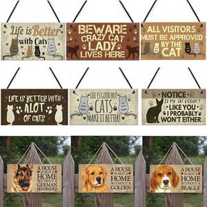 고양이 개 태그 사각형 나무 애완 동물 개 액세서리 사랑스러운 우정 동물 로그인 패 소박한 벽 장식 홈 장식 DWC2144