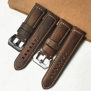 Alta qualità 24mm Brown Brown Cavallo Crazy Horse Genuine Pelle Watchband Wristband FitPam PAM111 PAM441 PAM914 cinturino cinturino cinturino