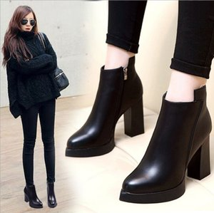 Hot sale-High heeled Martin boots Winter Coarse heel woman shoes lady Desert Boots real leather High heel boots High heels Large size 35-42