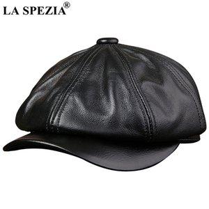 LA SPEZIA Black Newsboy Hats For Men Genuine Cowskin Leather Octagonal Cap Male Autumn Winter Fitted Vintage Duckbill Hats Beret T200911