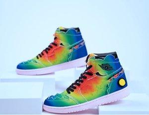 J Balvin x 1 alta OG tênis de basquete do arco-íris Multi-Cor Tie Dye 2020 tamanho New Authentic Mens Sports Sneakers Com Box DC3481-900 36-45