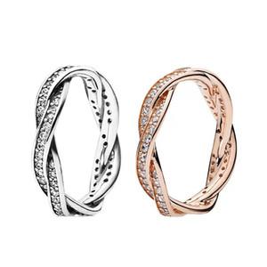 Anneaux de cluster 925 Sterling Sterling Sparkling Weaded Lines Cz Crystal pour Femmes Européen Original Diy Bijoux
