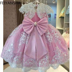 Été enfant en bas âge Filles dentelle gâteau robe enfants manches maille à fleurs Robes enfants Vêtements Pour Bébés filles 2 à 14 ans
