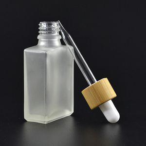 30ml Cancella / vetro glassato Dropper bottiglie di liquido di reagente Pipetta Piazza Bottiglie Olio essenziale di profumo esalazioni di petrolio e bottiglie di liquido di bambù Cap