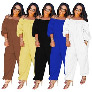 Women clothing solid color Rompers long sleeve offer shoulder jumpsuits bodysuits fall winter Skinny overalls s-2xl one Piece Pants 3945