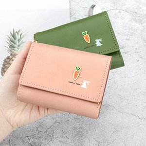 Short Wallet Purse Female Simple Solid Color Printing Tri Fold Personality Cute Small Fresh Wallet Coin Pocket Animal Prints Fr9P#