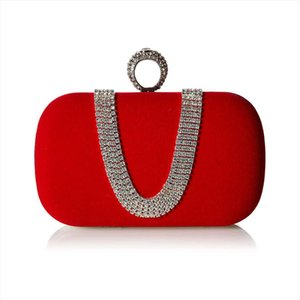 Suede Velvet Rhinestone Stud One Ring Decor Evening Cocktail Clutch Bag Drop Shipping Good Quality