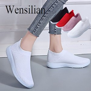 Hot Sale-Summer Flats Women White Sneakers Slip On Shoes For Women Knitting Flats Breathable Casual Shoes Ladies Zapatos Mujer 2019 MX190816