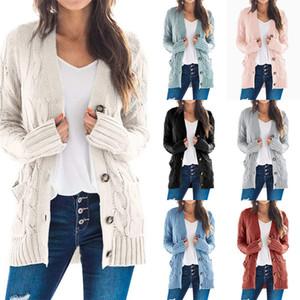 Punto 2020 otoño y el invierno nuevos europeos y americanos de la chaqueta chaqueta de punto jersey de color sólido ocasional botón de giro chaqueta de punto