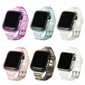 for Apple Watch Series 5 4 3 2 Glitter Powder Tough Armor Soft Silicone Protect Case Band Strap Cover