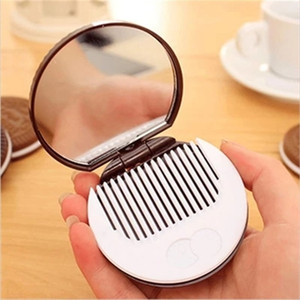 Chocolate Sanded Cookies Mirrors Cute Portable Pocket Mini Make Up Mirror Women Girls Comb Biscuit Shape Cosmetic Mirror Espejo