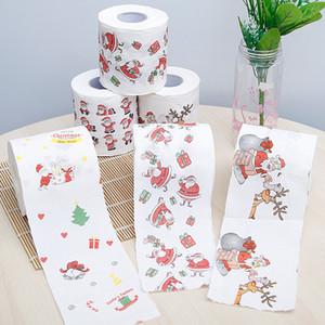 Рождество Туалетная бумага Рождество шаблон серии рулонной бумаги Печать Смешной Туалетная бумага Главная Санта Клаус Поставки Xmas Декор Tissue Ролл 2020