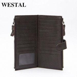 Wholesale WESTAL Genuine Leather Men Standard Wallets Man Double Zipper Wallet Mens Purse Clutch Bag Male Cowhide Leather Wallet 8057 HGxs#
